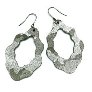 Genuine Leather Silver Camo Earring